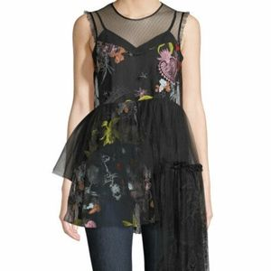 Cinq a Sept Black Embroidered Tulle Peplum Top New